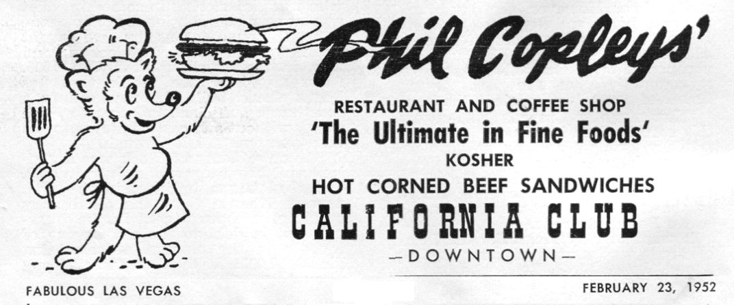 Phil Copley's California Club advertisement 1952