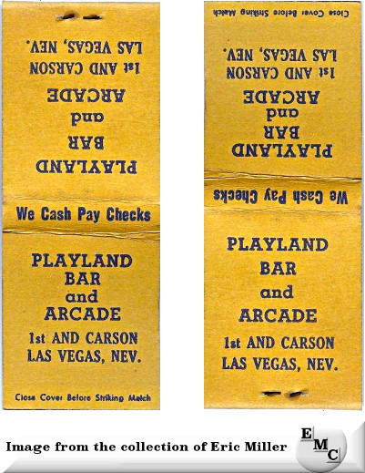 Playland Bar and Arcade Las Vegas matchcover from Eric Miller.