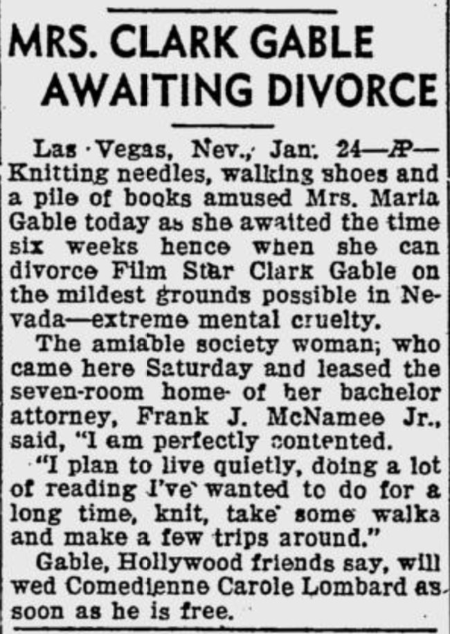 Mrs. Clark Gable awaiting divorce in las vegas