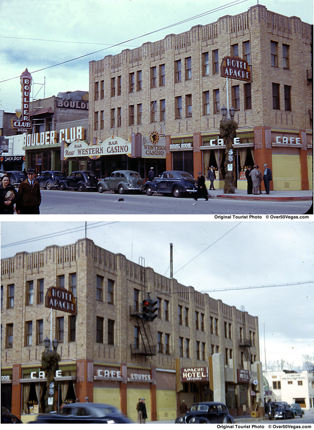 A rare color tourist photo of the Apache Hotel and the entrance to the hotel at 102 N. 2nd Street.
