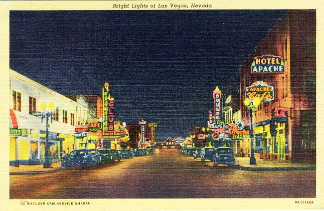 Bright lights of Las Vegas postcard