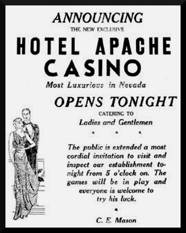 Apache Hotel Casino opens tonight