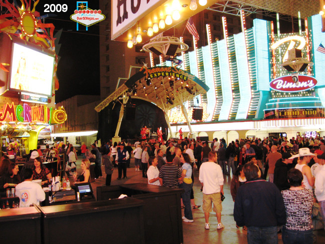 Fremont Street fun and crowds at Binion's Gambling Hall in 2009
