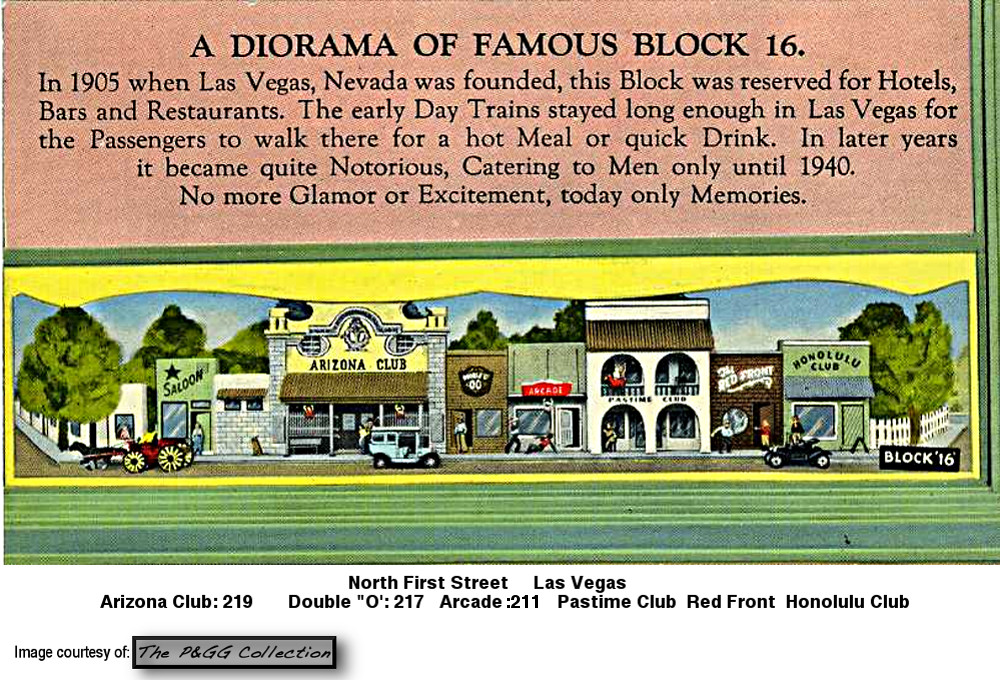 Block 16 Las Vegas Honolulu Club, Red Front, Double O Club, PGG Collection postcard