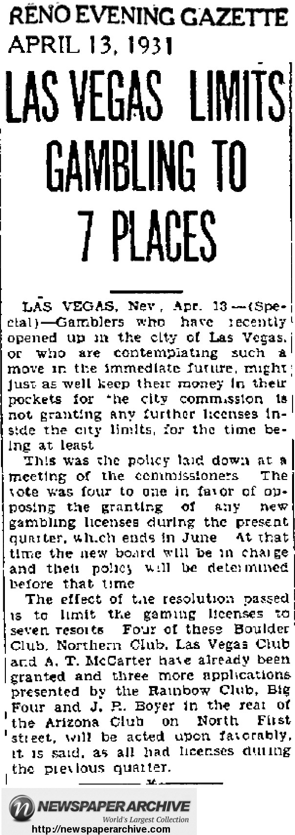 1931 Las Vegas resolution to limit new gambling licenses.