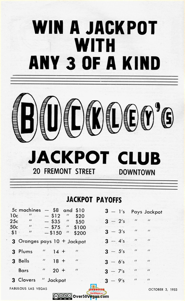 Buckley's Jackpot Club adv 1953  Las Vegas, NV