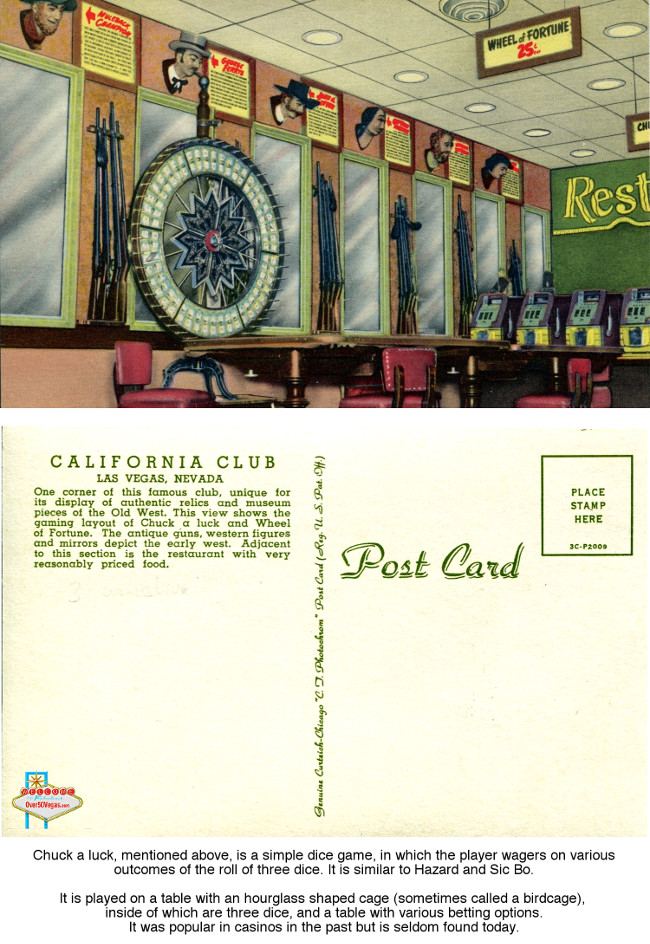 California Club- postcard showing inside gaming