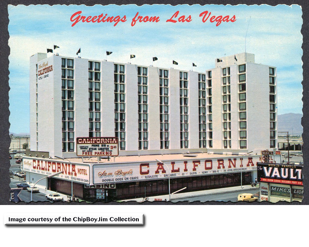 A great view of the new California Hotel and Casino. Also shown in the lower right is the Vault Casino.