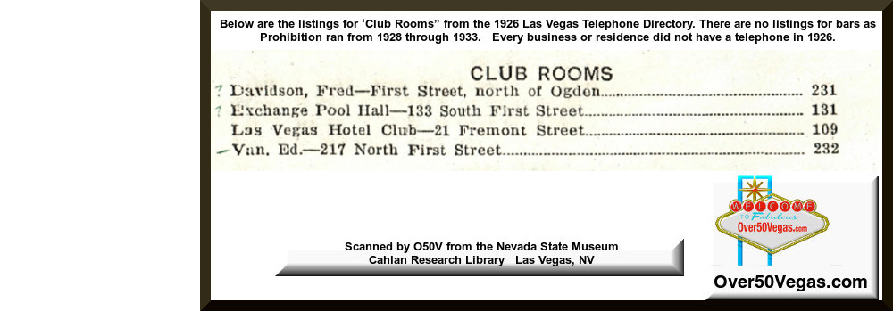 1926 Las Vegas Telephone listings for Clubs - Exchange Pool Hall, Las Vegas Hotel Club