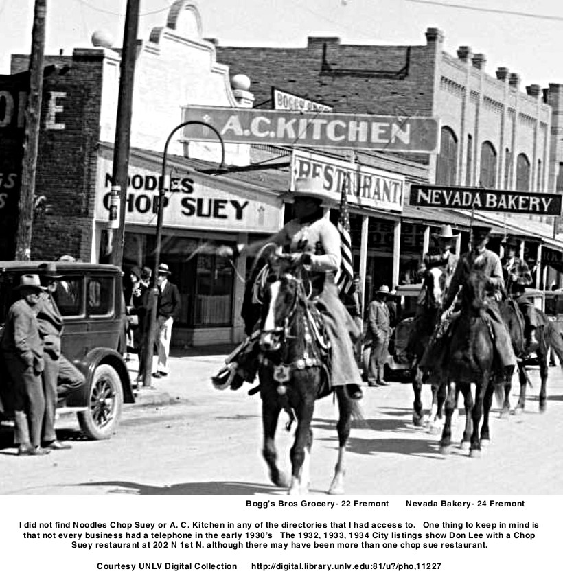 1930's Labor Day parade showing Chop Suey restaurant  A. C. Kitchen  Bogg's Bros Grocery Noodles Chop Suey   Nevada Bakery    Blanding's Meat Market  Las Vegas Pharmacy    Courtesy UNLV Digital Collection