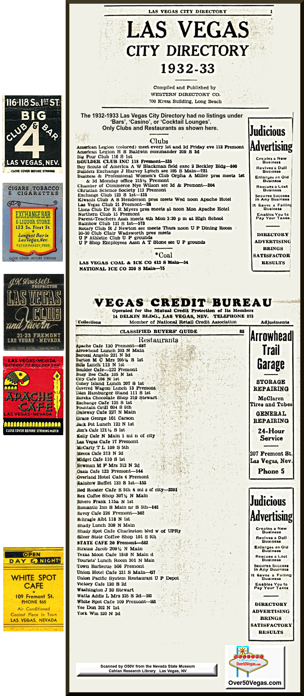1932-1933 Las Vegas City Directory listings for Clubs