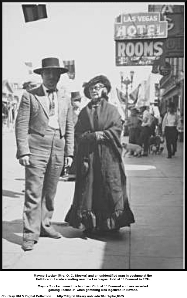 Mayme Stocker (Mrs. O. C. Stocker) and an unidentified man in costume at the Helldorado Parade