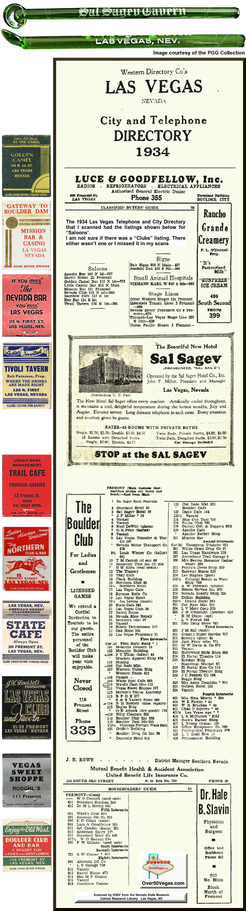 1934 Las Vegas City and Telephone Directory listings for Clubs