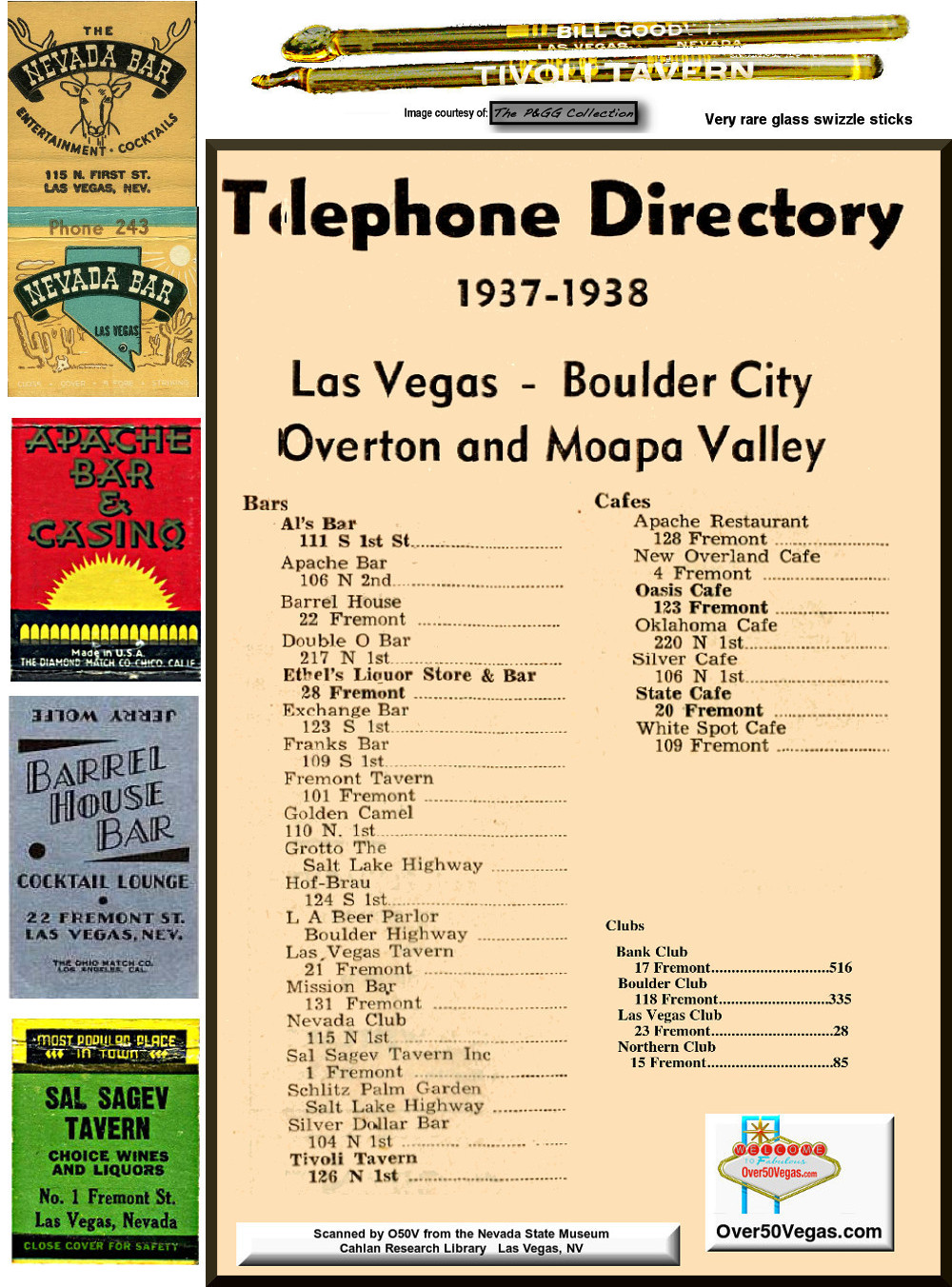 1937-1938 Las Vegas Telephone Directory listings for Clubs