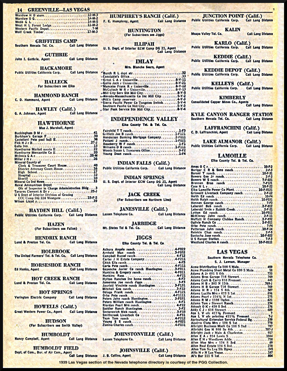 1939 Las Vegas Telephone Listings