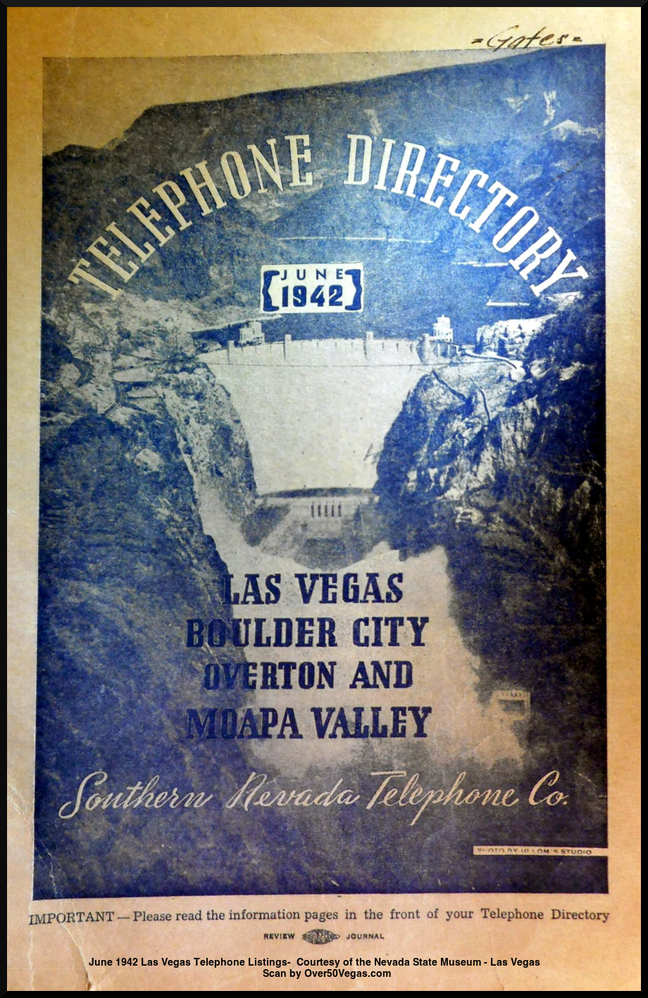 June 1942 Las Vegas Telephone Listings-  Courtesy of the Nevada State Museum - Las Vegas         