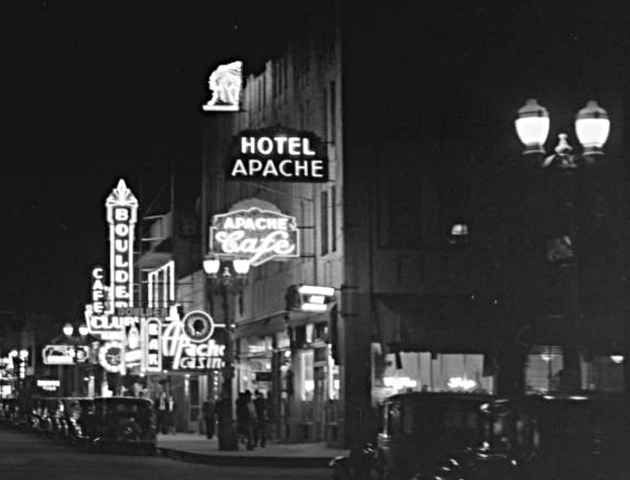 Night falls on Fremont Street in the late 1930's or early 40's. The Apache Casino was open from 1932 to 1941.  Courtesy UNLV Digital Collection
