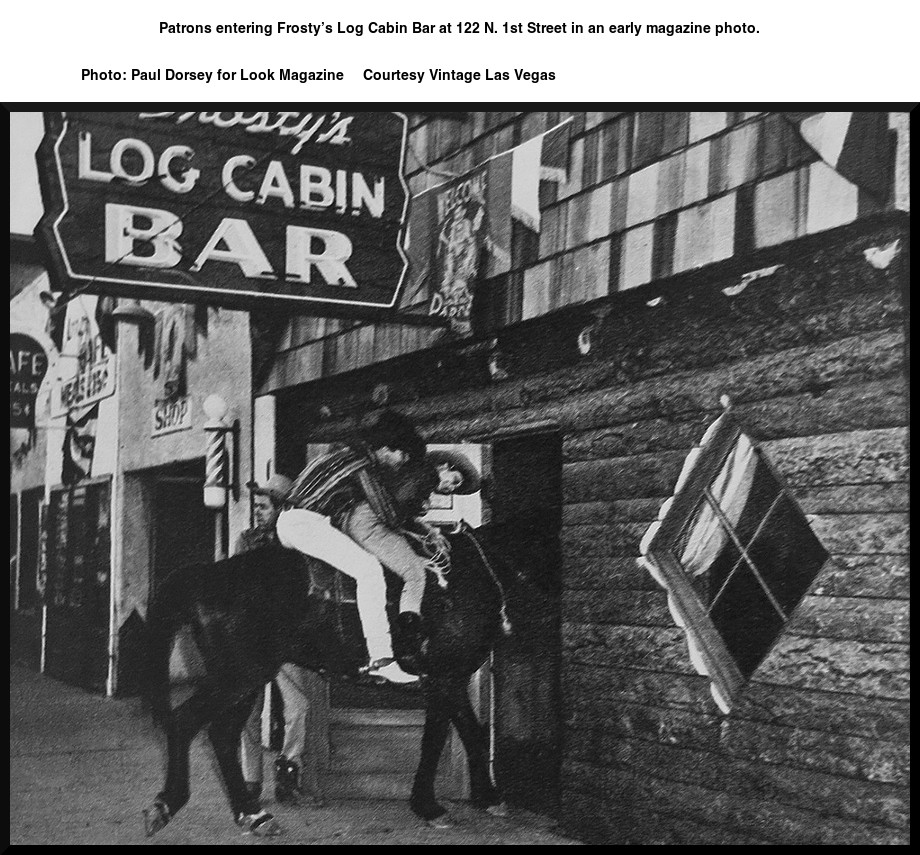 Patrons entering Frosty's Log Cabin Bar at 122 N. 1st Street in an early magazine photo. 