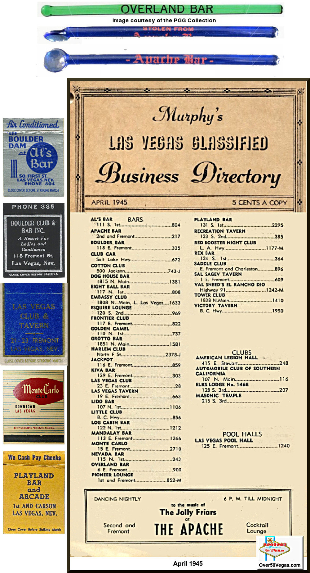 1945 Las Vegas Telephone listings for Clubs