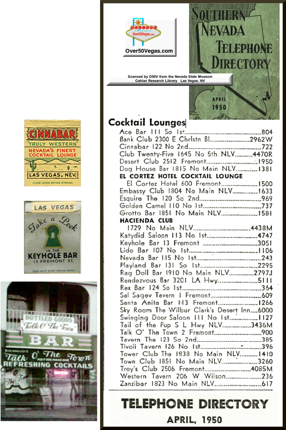 Cocktail Lounges and Bars-April 1950 in Las Vegas, NV