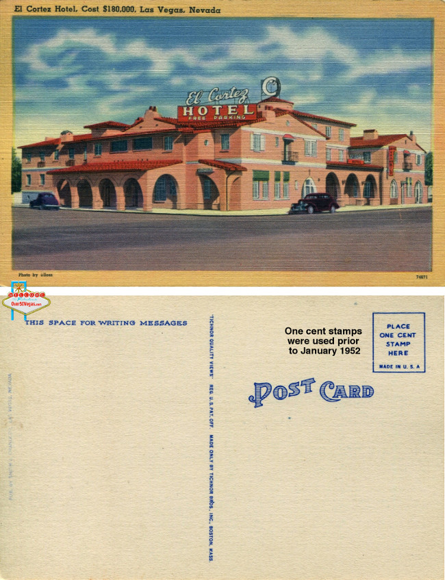 A pre-1952 postcard from the El Cortez in downtown Las Vegas.