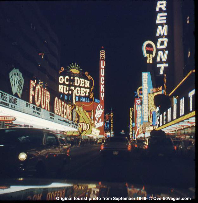 Sept 1966- Four Queens, Lucky Casino, Fremont Hotel, Binion's Horseshoe at night.
