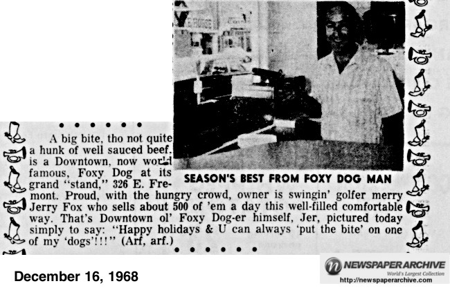 Owner of the Foxy Dog at 326 Fremont is Jerry Fox.