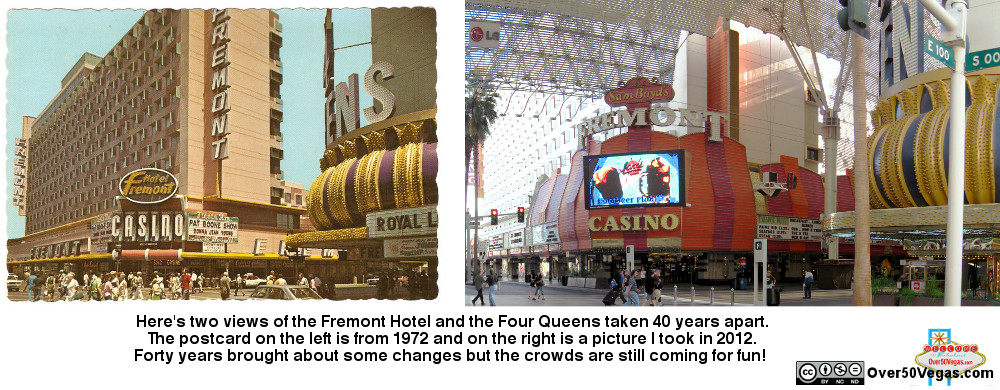 Fremont Hotel Casino Las Vgeas in 1972 and 2012