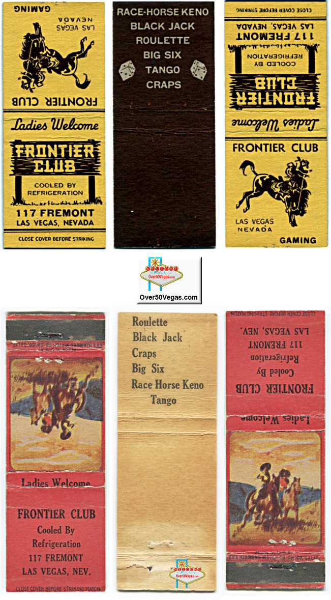 Matchcovers from the Frontier Club!
