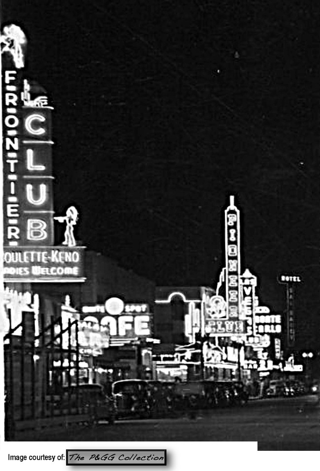 Night view postcard from the PGG Collection shows the beautiful neon sign!