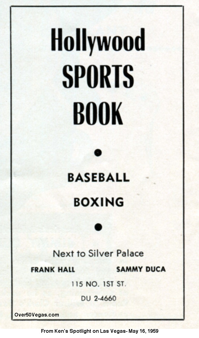 Hollywood Race and Sports Book ad from 1959