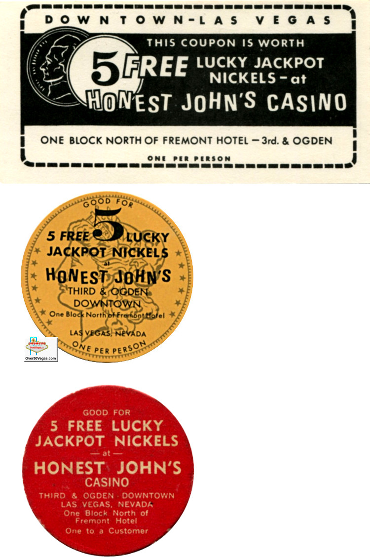 Honest John's Lucky Nickel coupon and paper chips