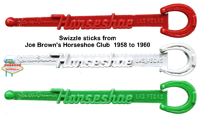Colorful swizzle sticks from Joe Brown's Horseshoe Club 1958 to 1960