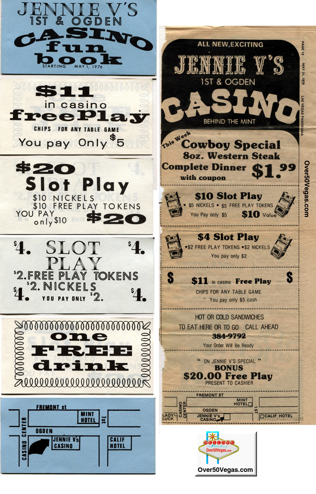 "A rare coupon fun book from Jenny V's with a ""Starting May 1, 1976"". Also a newspaper ad published in the short-lived Las Vegas Panorama on May 21, 1976,that shows that they had a restaurant there also."