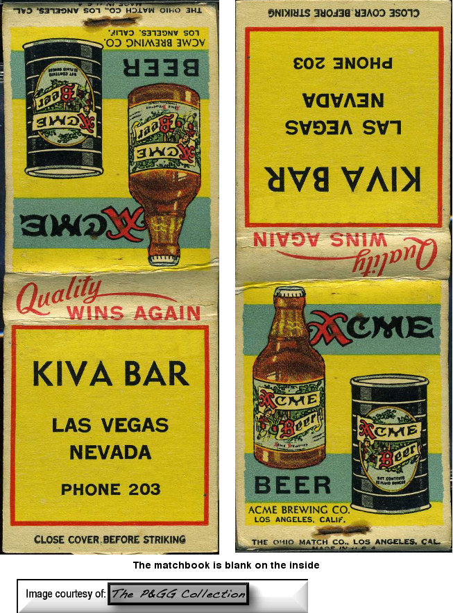 Thanks to the generosity of the PGG Collection we see a very rare Kiva Bar matchbook featuring Acme Beer!