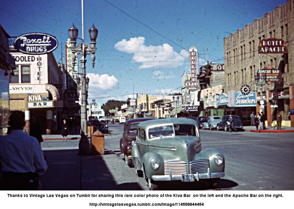 Thanks to Vintage Las Vegas on Tumblr for sharing this rare color photo of the Kiva Bar  on the left and the Apache Bar on the right.
