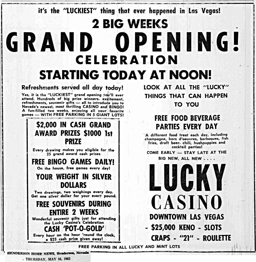 Lucky Casino Grand Opening Celebration advertisement from 