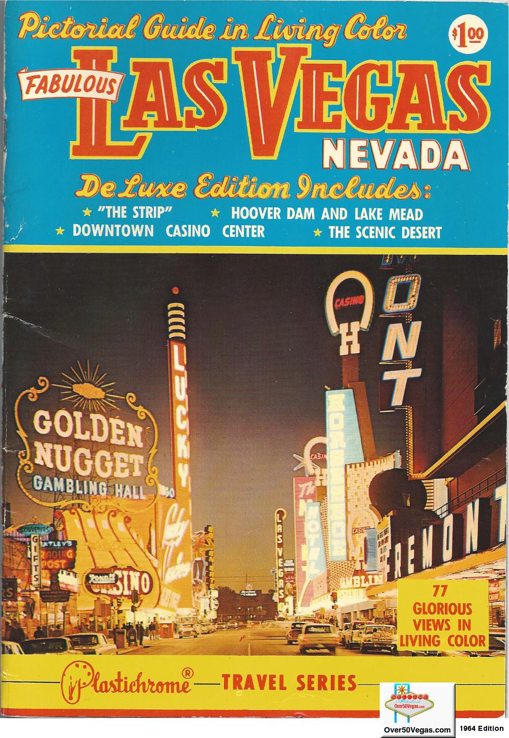 This beautiful full color pictorial guide to Las Vegas from 1964 features the bright lights of downtown Las Vegas including the Lucky Casino, Horseshoe, Golden Nugget, Las Vegas Club, Fremont, Golden Gate, and Pioneer.  On the left side of the cover you can see Bentley's Trading Post and White Cross Drugs which would be torn down in 1965 for the construction of the Four Queens.