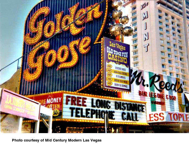 Mr. Reed's, the Golden Goose and the Mint tower in downtown Las Vegas in the 1970's