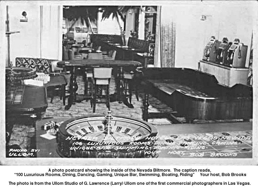 A photo postcard showing the inside of the Nevada Biltmore. 