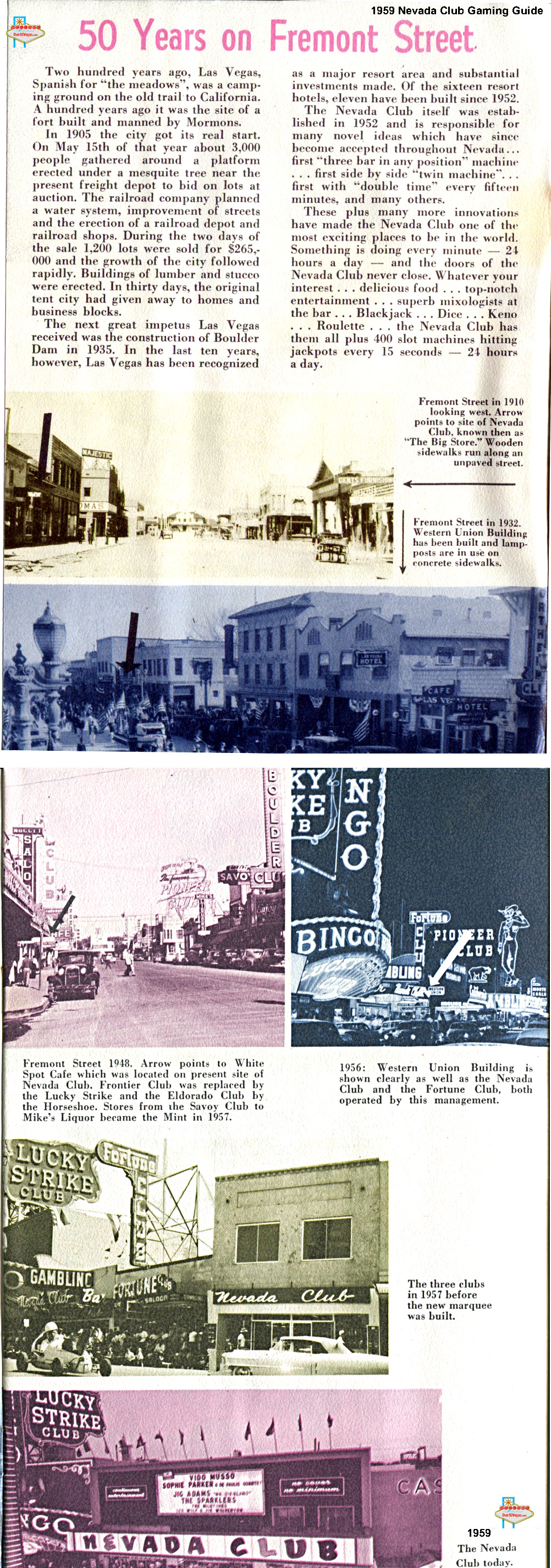 History of Fremont Street from the Nevada Club Gaming Guide 1959