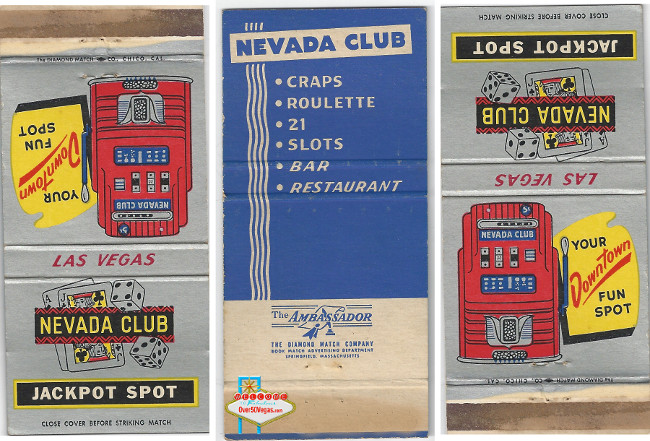 Nevada Club Matchcover-Your Downtown Fun Spot