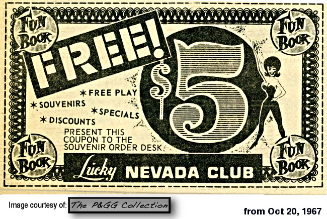 Lucky nevada Club Funbook from 1967