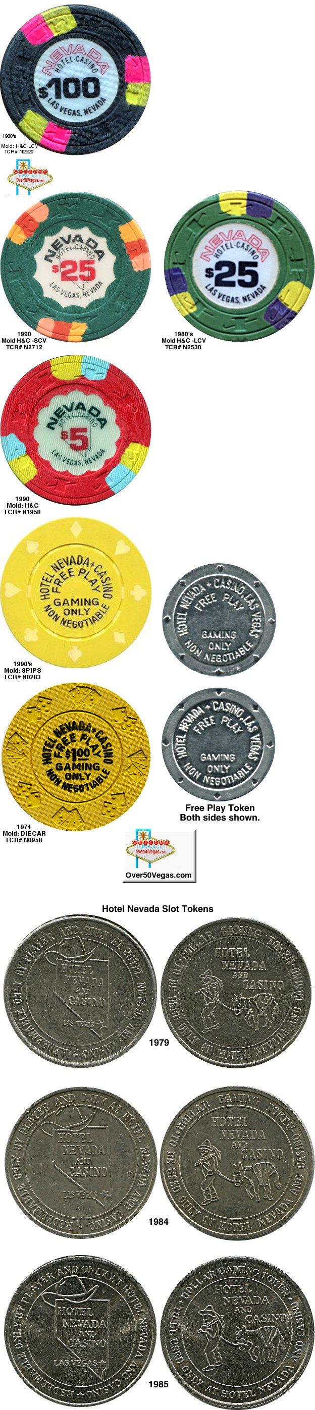 Gaming chips and slot tokens from Nevada Hotel in Las Vegas, NV