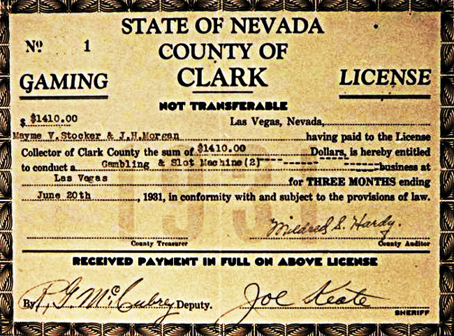 Gaming license #1 issued to the Northern Club on June 20, 1931