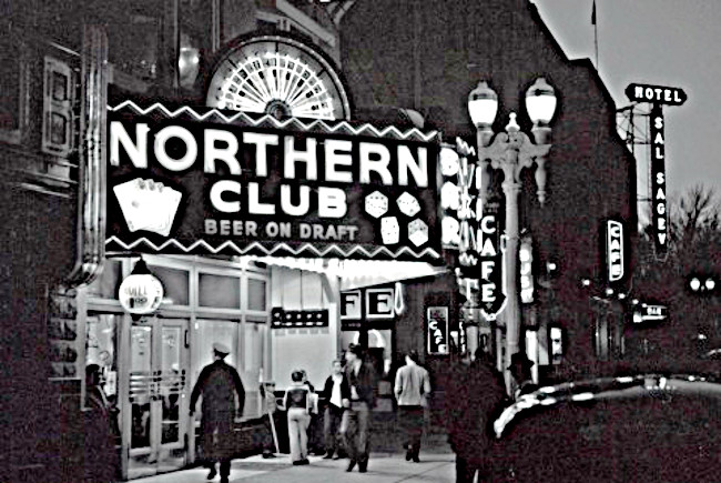Northern Club with the Sal Sagev shown down the street