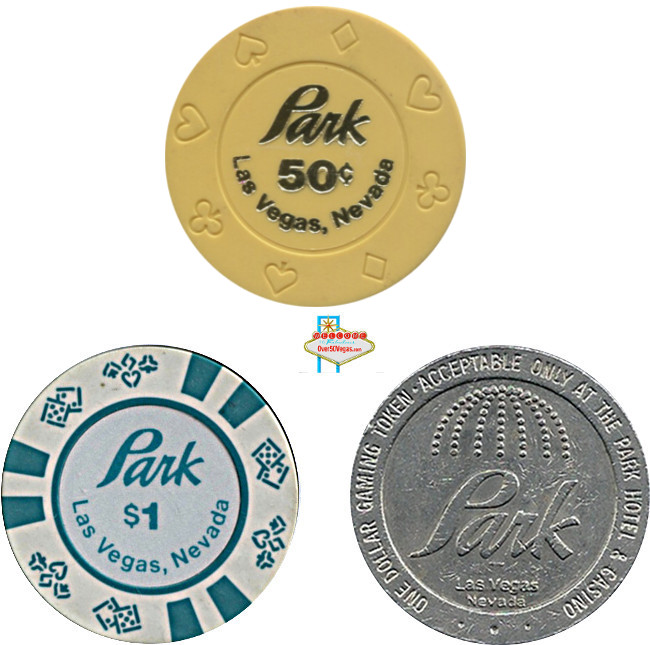 Chips and token from Park Hotel Casino downtown Las Vegas