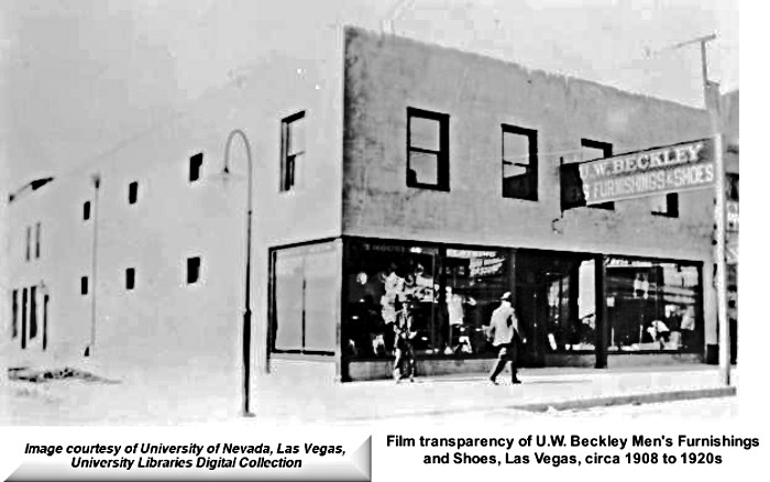 Beckley's Mens Furnishings and Shoes  circa 1908-1920 Downtown Las Vegas