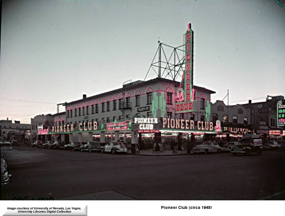 A rare color transparency of the Pioneer Club circa 1948. To the far right you can just see the Monte Carlo sign.