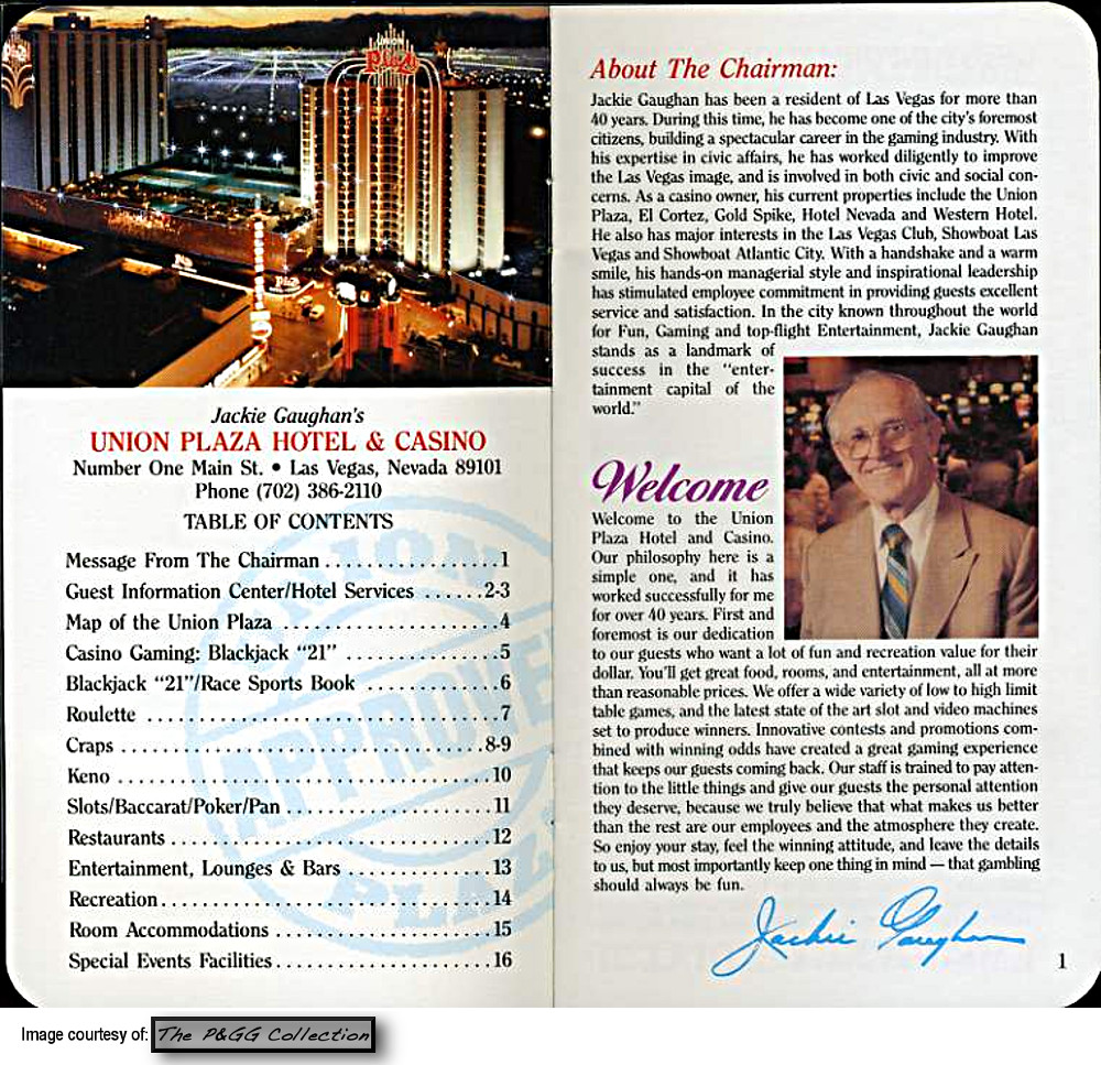 An information booklet for guests staying at Jackie Gaughan's Union Plaza